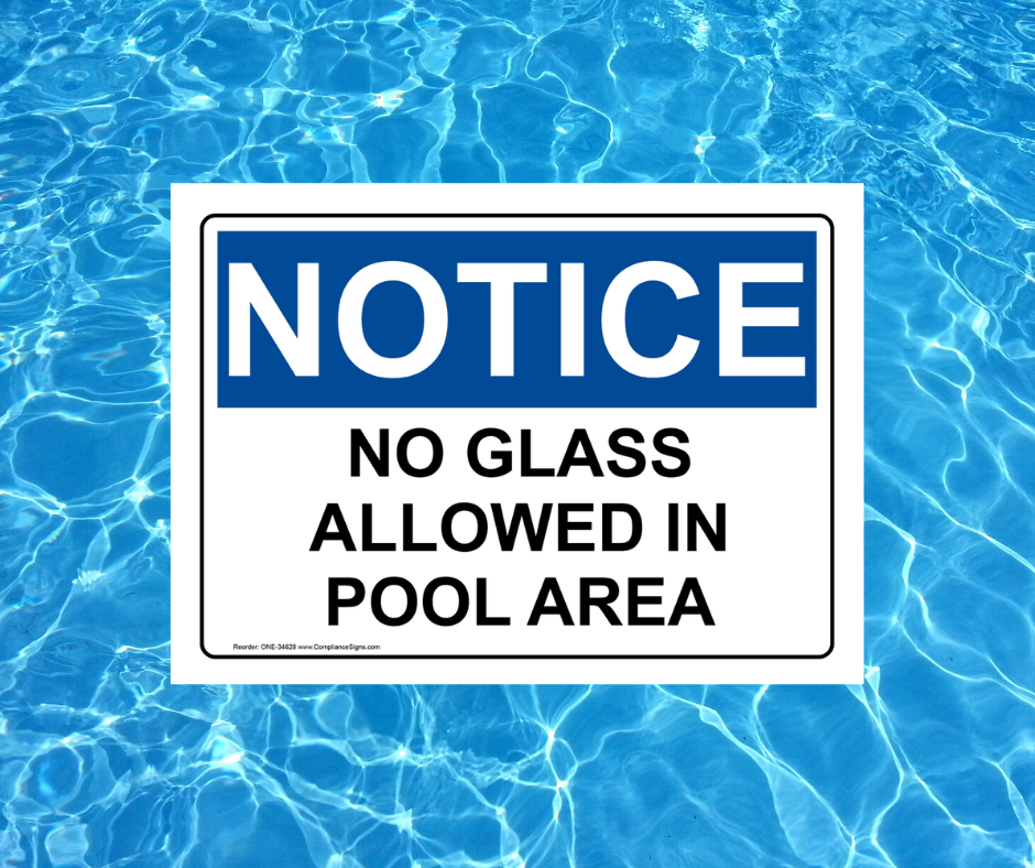 no glass allowed in pool sign